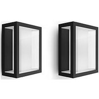 Product photograph showing Philips Hue Impress Wide White Amp Colour Ambiance Led Smart Outdoor Wall Light Double Pack