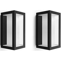 Product photograph showing Philips Hue Impress Slim White Amp Colour Ambiance Led Smart Outdoor Wall Light Double Pack