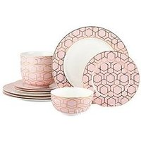 Product photograph showing Waterside 12 Piece Tallulah Pink Gold Dinner Set