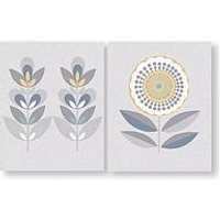 Product photograph showing Graham Brown Set Of 2 Retro Flora Printed Canvas
