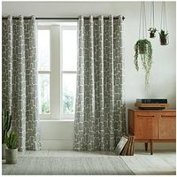 Product photograph showing Missprint Little Trees Monochrome Eyelet Curtains