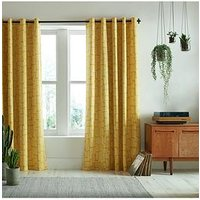 Product photograph showing Missprint Little Trees Yellow Eyelet Curtains