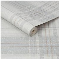 Product photograph showing Superfresco Rhea Plaid Grey Rose Gold Wallpaper