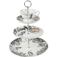 Product photograph showing V A Alice In Wonderland 3-tier Cake Stand