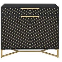 Product photograph showing Chevron 2 Door 2 Drawer Sideboard - Black Gold