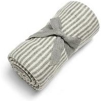 Product photograph showing Mamas Papas Knitted Blanket - Grey White Stripe