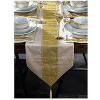 Product photograph showing Waterside 7 Piece Velvet Diamante Gold Runner Set