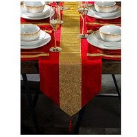 Product photograph showing Waterside 7 Piece Velvet Diamante Red Gold Runner Set
