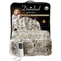 Product photograph showing Dreamland Relaxwell Deluxe Faux Fur Alaskan Husky Faux Fur Heated Throw