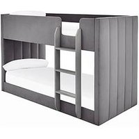 Product photograph showing Panelled Velvet Bunk Bed With Mattress Options Buy And Save - Grey - Bed Frame Only