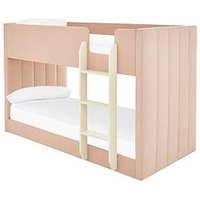 Product photograph showing Panelled Velvet Bunk Bed - Pink