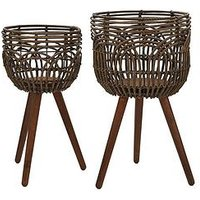 Product photograph showing Set Of 2 Rattan Style Standing Planters