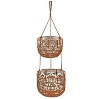 Product photograph showing Set Of 2 Rattan Style Hanging Planters