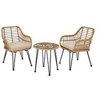 Product photograph showing Madrid Cane Effect Bistro Set Garden Furniture