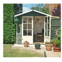 Product photograph showing Lumley 7x5 Shiplap Painted Summerhouse - Shed Only