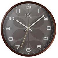 Product photograph showing Orla Kiely Orla Kiely Wooden Wall Clock