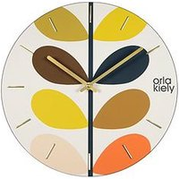 Product photograph showing Orla Kiely Wooden Wall Clock With Multi-stem Detail