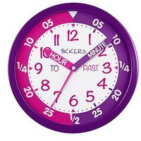 Product photograph showing Tikkers Time Teacher Wall Clock Ndash Pink And Purple
