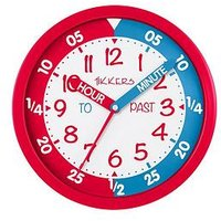 Product photograph showing Tikkers Time Teacher Wall Clock Ndash Red And Blue