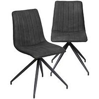 Product photograph showing Vida Living Caleb Pair Of Dining Chairs - Charcoal