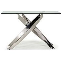 Product photograph showing Vida Living Hannes Console Table - Silver