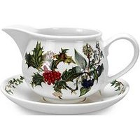 Product photograph showing Holly Amp Ivy Gravy Boat And Stand