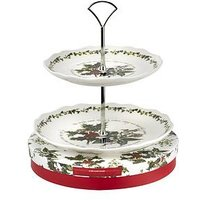 Product photograph showing Holly Amp Ivy 2-tier Cake Stand