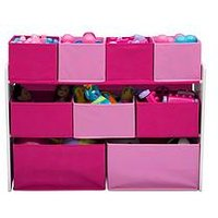 Product photograph showing Deluxe Toy Organiser- White Pink
