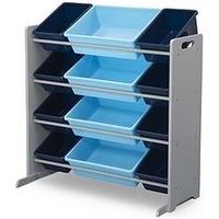 Product photograph showing My Size 12 Bin Plastic Organiser- Blue