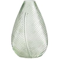 Product photograph showing Gisela Graham Green Leaf Impression Glass Vase