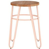 Product photograph showing Premier Housewares District Hairpin Stool- Pink Elm
