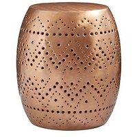 Product photograph showing Premier Housewares Crest Cutwork Drum Stool Table- Copper