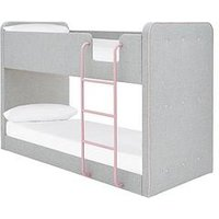 Product photograph showing New Charlie Fabric Bunk Bed With Mattress Options Buy And Save - Grey Pink - Bed Frame With Premium Mattress