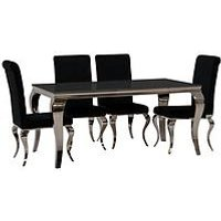 Product photograph showing Vida Living Ohio 160 Cm Dining Table 6 Chairs - Black