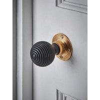Product photograph showing Cox Cox Beehive Door Knob - Black Brass