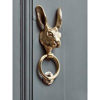 Product photograph showing Cox Cox Hare Door Knocker - Solid Brass