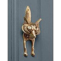 Product photograph showing Cox Cox Fox Door Knocker - Solid Brass