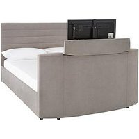 Product photograph showing Kingsley Fabric Tv Bed Double - Bed Frame With Microquilt Mattress