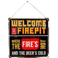 Product photograph showing La Hacienda Welcome To Firepit Garden Wall Sign