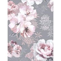 Product photograph showing Catherine Lansfield Dramatic Floral Grey Wallpaper