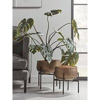 Product photograph showing Cox Cox Set Of 2 Soft Gold Standing Planters