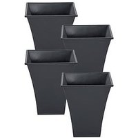 Product photograph showing Wham Set Of 4 Slate Square Metallica Planters - 23cm