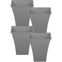 Product photograph showing Wham Set Of 4 Upcycle Grey Square Metallica Planters - 23cm