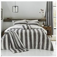 Product photograph showing By Caprice Mae Faux Fur Duvet Cover Set - Grey