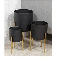Product photograph showing Hestia Hestia Set Of 3 Textured Black Gold Metal Planters