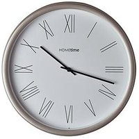 Product photograph showing Hometime Silver Roman Dial Wall Clock