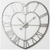 Product photograph showing Hometime Metal Heart Shaped Wall Clock