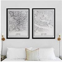 Product photograph showing Set Of 2 Framed Canvas Wall Art Prints - London And New York