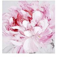Product photograph showing Arthouse Pink Flower Canvas Wall Art With Hand Painted Detail