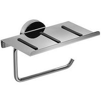 Product photograph showing Croydex Pendle Chrome Toilet Roll Holder With Anti Slip Shelf